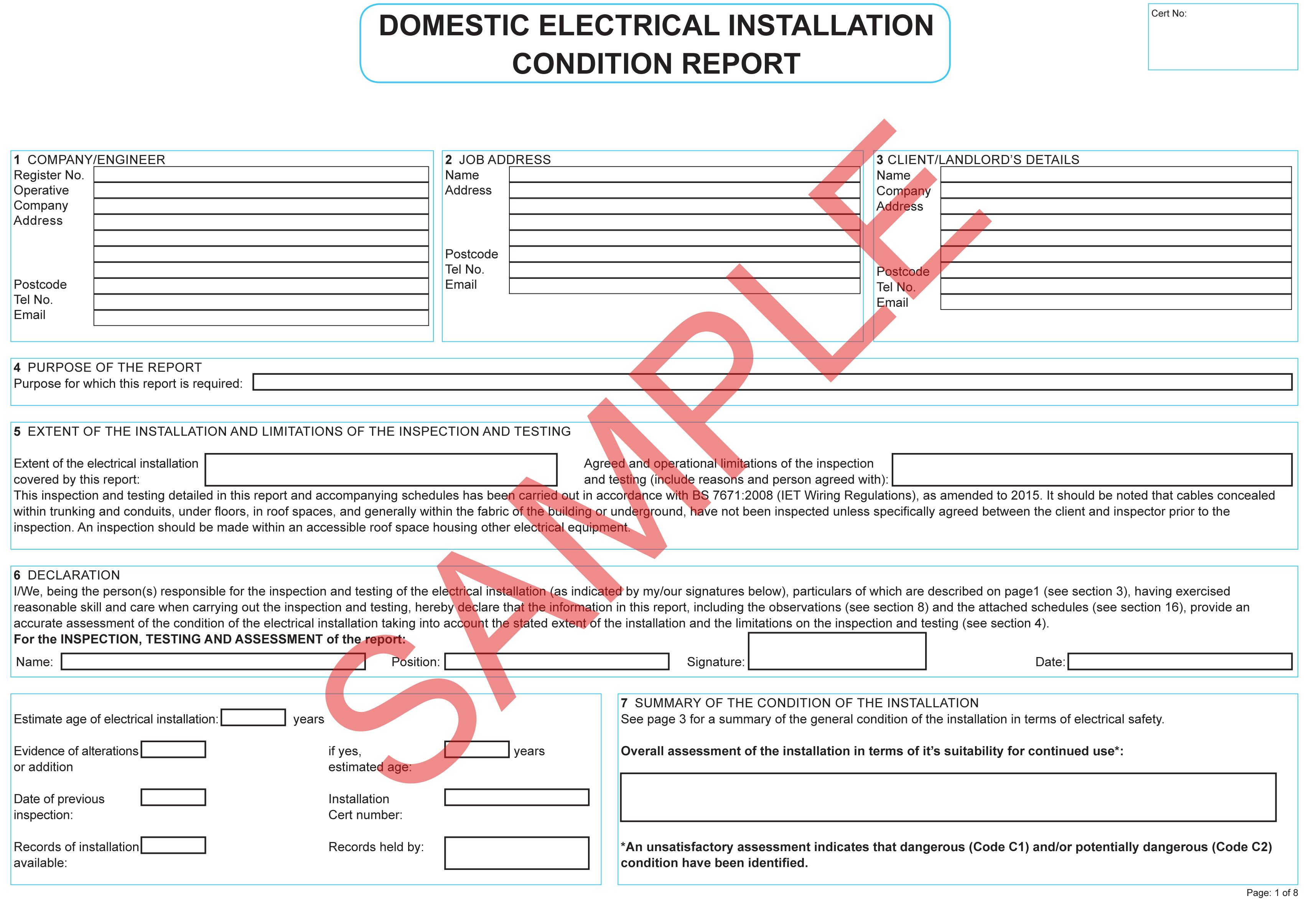 Certificates Everycert Home Wiring Installation Domestic Electrical Condition Report G832 Sseg Commissioning Confirmation