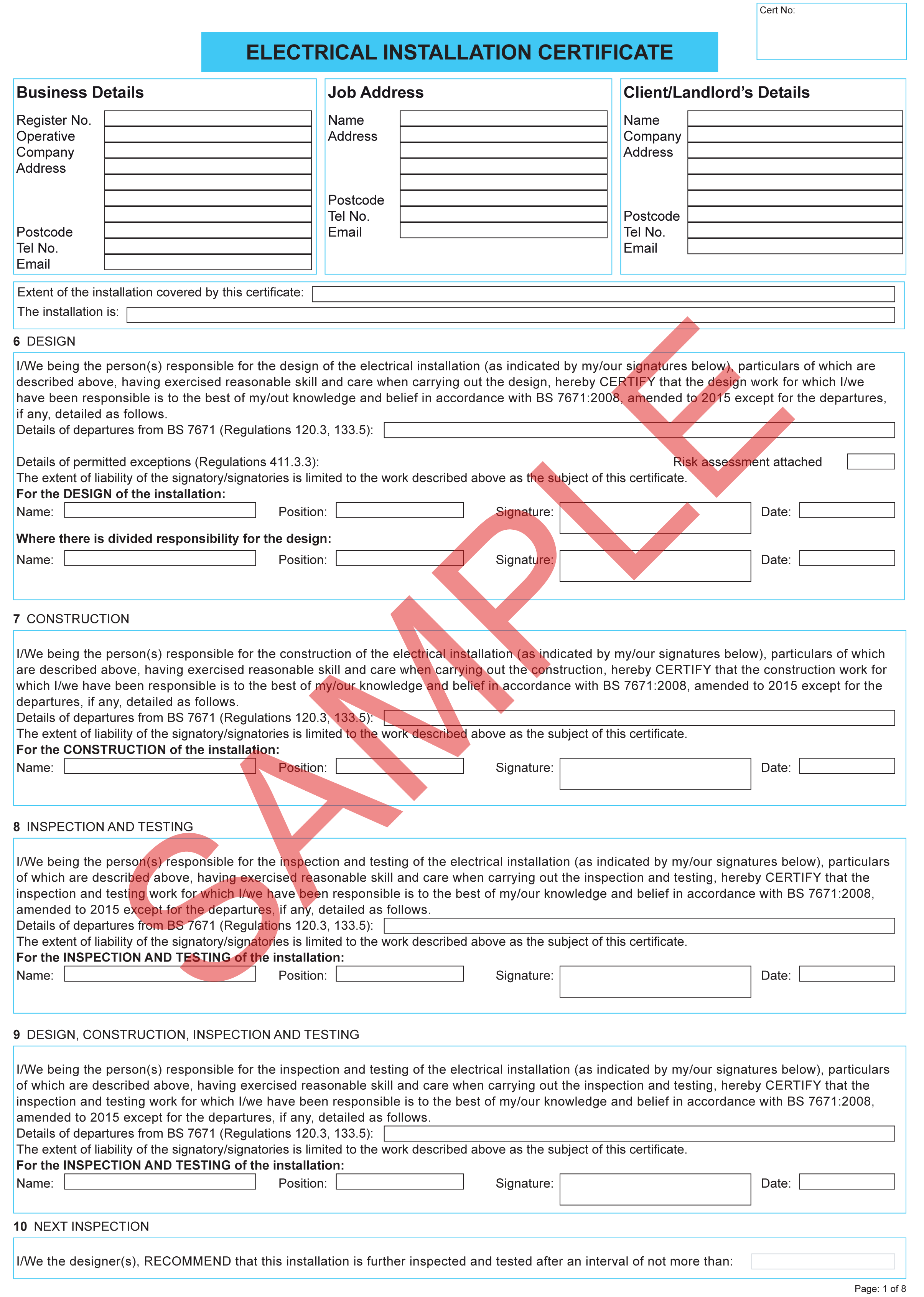 Electrical Installation Certificate Template