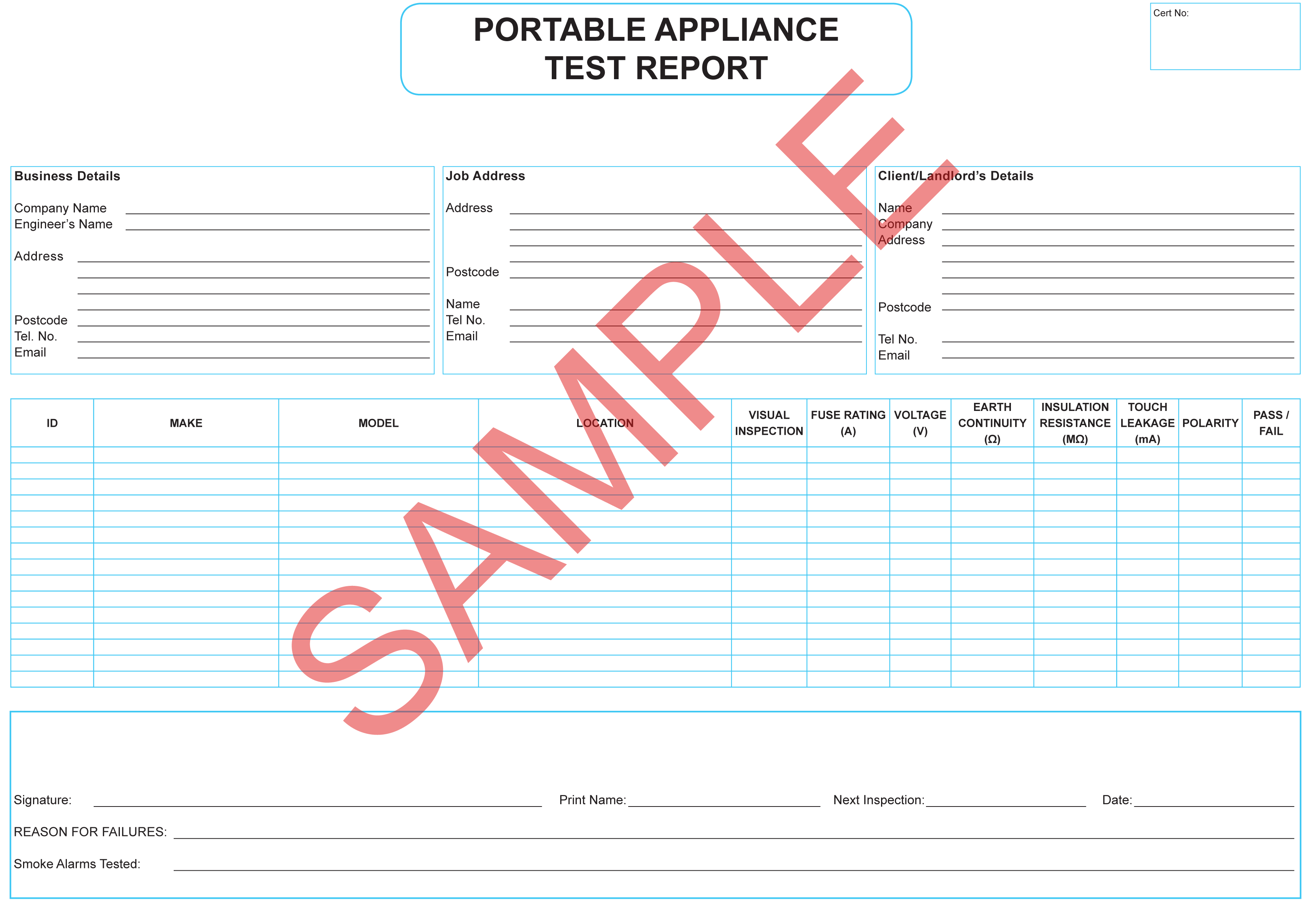 Certificates everycert for Pat testing record sheet template